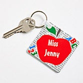 Personalized Red Apple Teacher Keychain - 2809