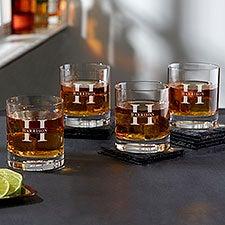 Lavish Last Name Engraved Old Fashioned Whiskey Glasses - 28103