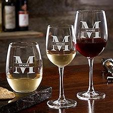Lavish Last Name Engraved Wine Glasses - 28110