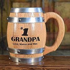 #1 Grandpa Personalized 16 oz. Oak Barrel Mug - 28165D