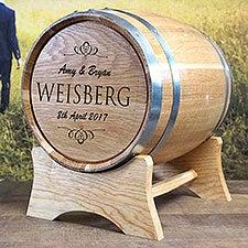 Classic Wedding Personalized Oak Barrel Wedding Card Holder - 28174D