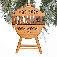 BBQ Boss Grill Engraved Wood Ornaments - 28331