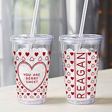 Sweet Hearts Personalized Insulated Acrylic Tumblers for Kids - 28392