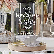 Wedding Wishes Personalized Wood Hurricane Candle Holder - 28511