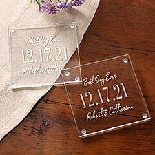 The Big Day Personalized Glass Wedding Coaster Set of 4 - 28703
