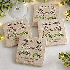 Laurels of Love Personalized Wedding Tumbled Stone Coasters - Set of 4 - 28704
