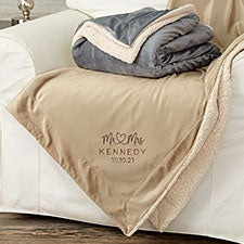 Infinite Love Wedding Embroidered Sherpa Blankets - 28707