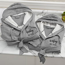 Wifey & Hubby Personalized Sweatshirt Robe - 28708