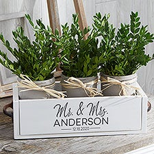 Stamped Elegance Personalized Wedding Decorative Wood Entry Table Box - 28711