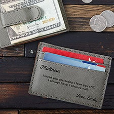 Message for Groom Personalized Money Clip Wallet - 28723