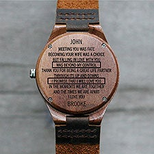To My Husband Engraved Walnut Wood Watch - 28734D