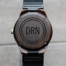 Circle Monogram Engraved Sandalwood Watch - 28737D