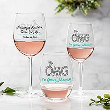 OMG I'm Getting Married philoSophie's® Personalized Wine Glasses - 29047