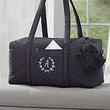 Floral Wreath Embroidered Quilted Duffel Bag - 29568