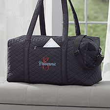 Playful Name Embroidered Quilted Duffel Bag - 29569