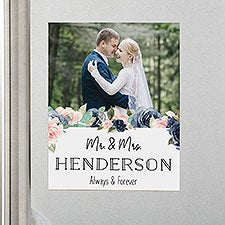 Navy Colorful Floral Wedding Personalized Photo Fridge Magnet - 29767