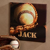 Personalized Canvas Art - Baseball Star Design - 2977