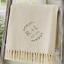 Their Initials Wedding Embroidered Afghan - 29790