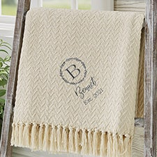 Laurel Monogram Custom Embroidered Afghan - 29791