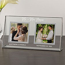 Classic Elegance Personalized Wedding Double Photo Glass Frame - 29792