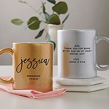 Classic Elegance Wedding Personalized Glitter Coffee Mugs - 29805