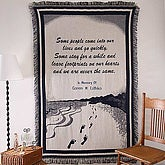 Embroidered Memorial Footprints Tapestry Afghan Blanket - 2995