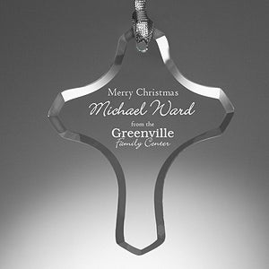Personalized Corporate Engraved Logo Cross Ornament - 10008