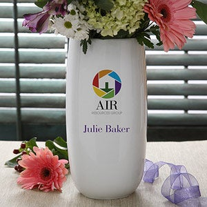 Personalized Corporate Custom Logo Ceramic Vase - 10016