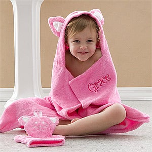Personalization Mall Kids Personalized Bath Towel & Wash Cloth Mitt - Kitty Cat at Sears.com