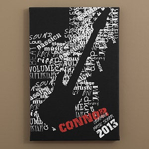 Personalized Guitar Canvas Art - Rock On - 10076