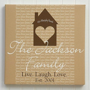 Personalized Canvas Art - Home Is Where The Heart Is - 10077
