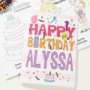 happy birthday boy or girl personalized coloring activity book crayon set