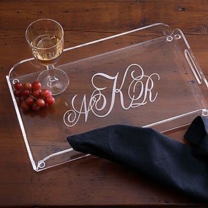 Monogrammed Clear Lucite Serving Tray - 1018