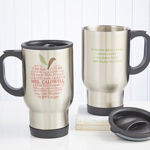 Personalized Teachers Travel Mugs - Apple - 10199