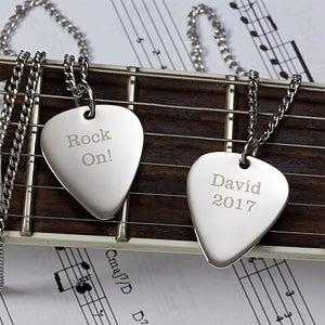Personalized Silver Guitar Pick Pendant