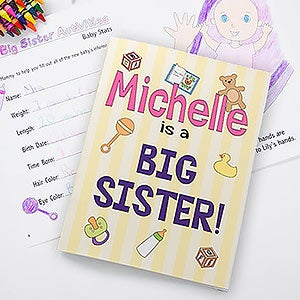 big sisterbrother personalized coloring activity book crayon set