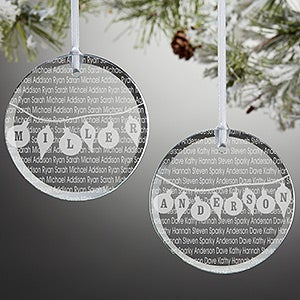 Personalized Glass Christmas Ornaments - Family Circle - 10239