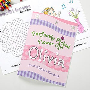 perfectly picked flower girl personalized coloring activity book crayon set