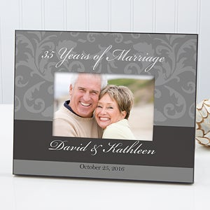 Personalized Wedding & Anniversary Picture Frame - Floral Damask - 10251