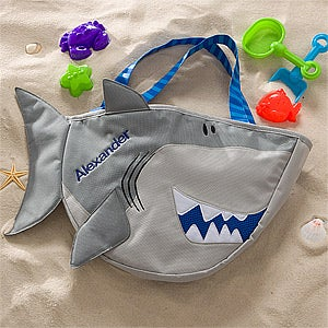 Personalized Shark Beach Tote Bag with Beach Toy Set - 10310