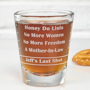 Personalized Bachelor Party Gifts - Personalized Shot Glass for Grooms - 10351