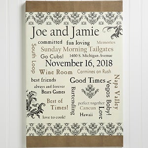 Personalized Wedding Gift Canvas Art Life Together 10354