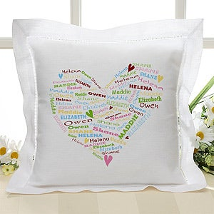 Personalized Linen Pillow Cover - Her Heart of Love - 10362