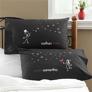 Personalized Newlywed Pillowcases - Blown Away By Love - 10371