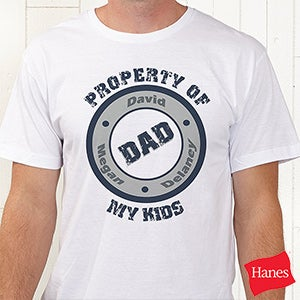 Personalized T-Shirts for Dads - Property Of My Kids