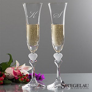 Personalization Mall Engraved Monogram Champagne Flutes by Spiegelau - Sweethearts at Sears.com