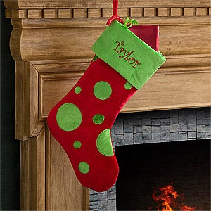 Personalization Mall Personalized Polka Dots Christmas Stocking - Red & Green at Sears.com