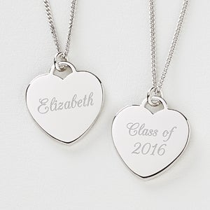 Personalized Graduation Necklace - Silver Heart - 10434