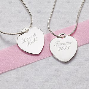 Engraved Silver Heart Necklace - Custom Message - 10436