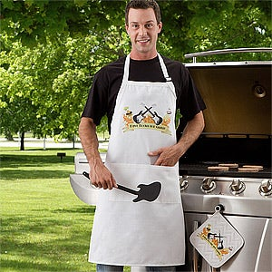 Personalized Guitar BBQ Apron & Potholder - Rockin' The Grill - 10441